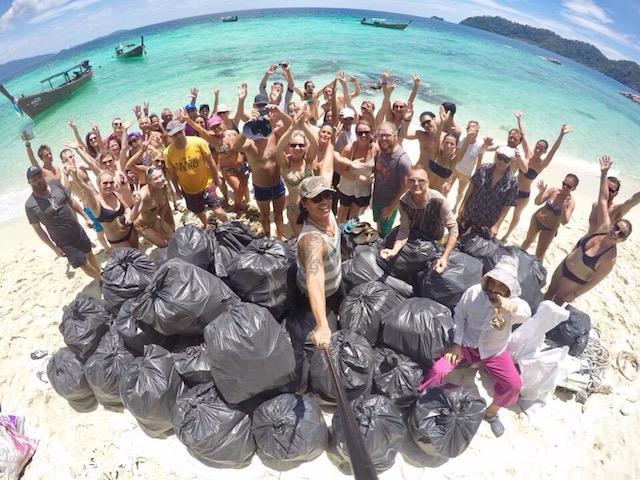 trash hero beach pile