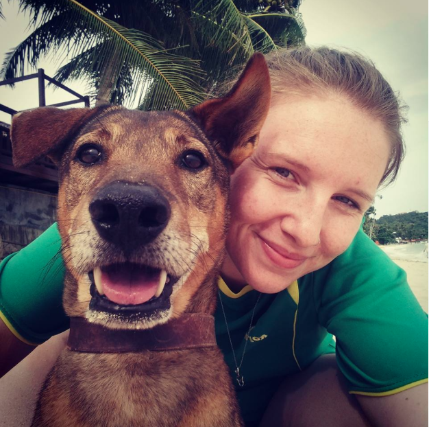 Teach abroad: XploreAsia team member Becca taking a selfie with her favorite companion