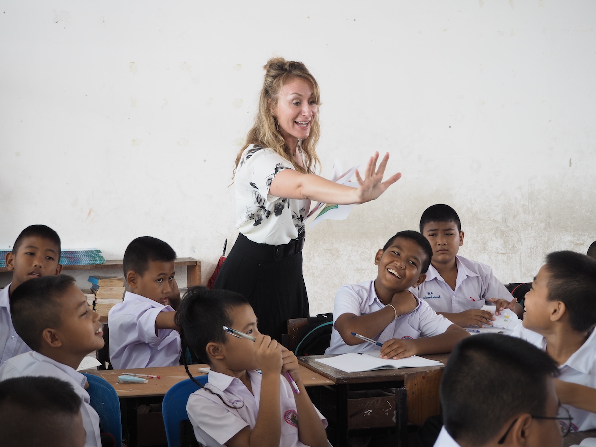 Elizabeth teaching in Thailand.