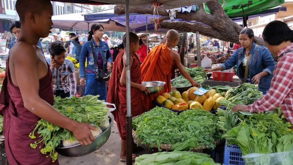 Monks but food at the market. Come teach monks in Myanmar!