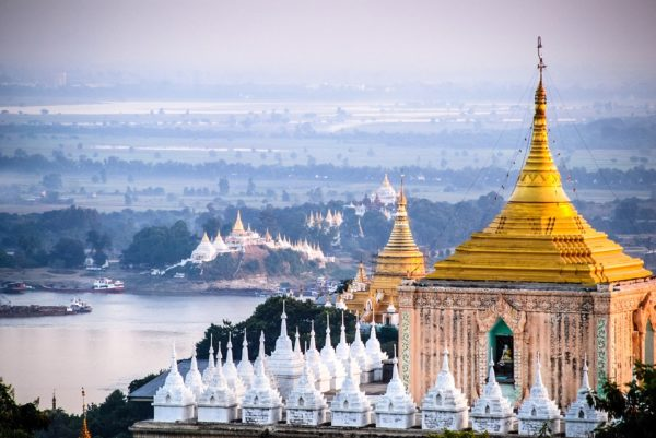 A pagoda overlooking the Irrawaddy River in Mandalay