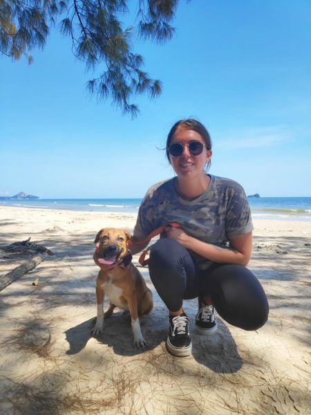 Rescue Paws Volunteer in Thailand Shari with Cloud