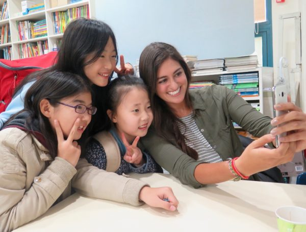 XploreAsia teacher having fun with her students in Korea