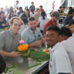 Teacher Kyle making floats with his students during Loi Krathong