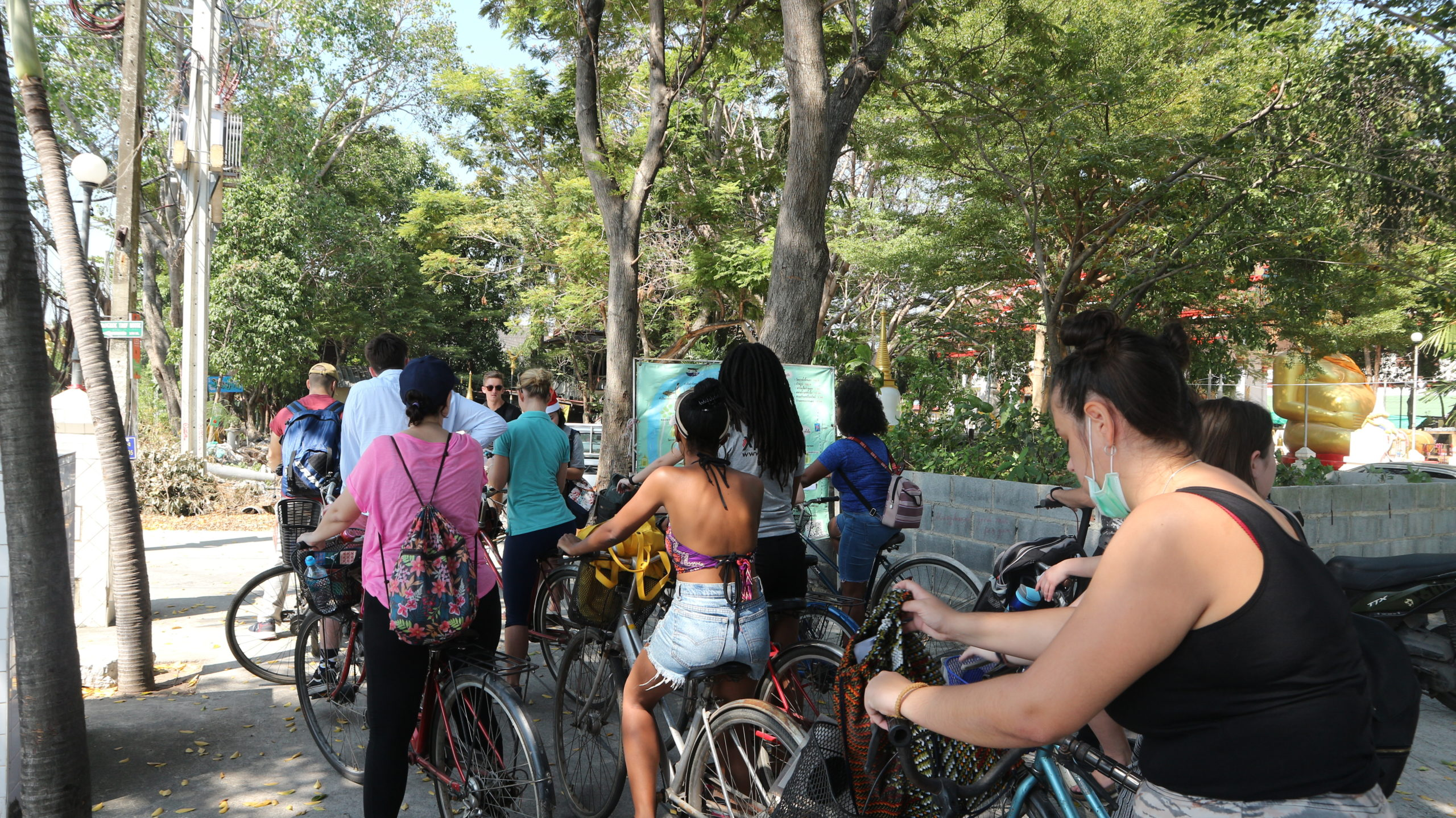 Participants cycle their way to each destination at the teacher meet up in Bangkok