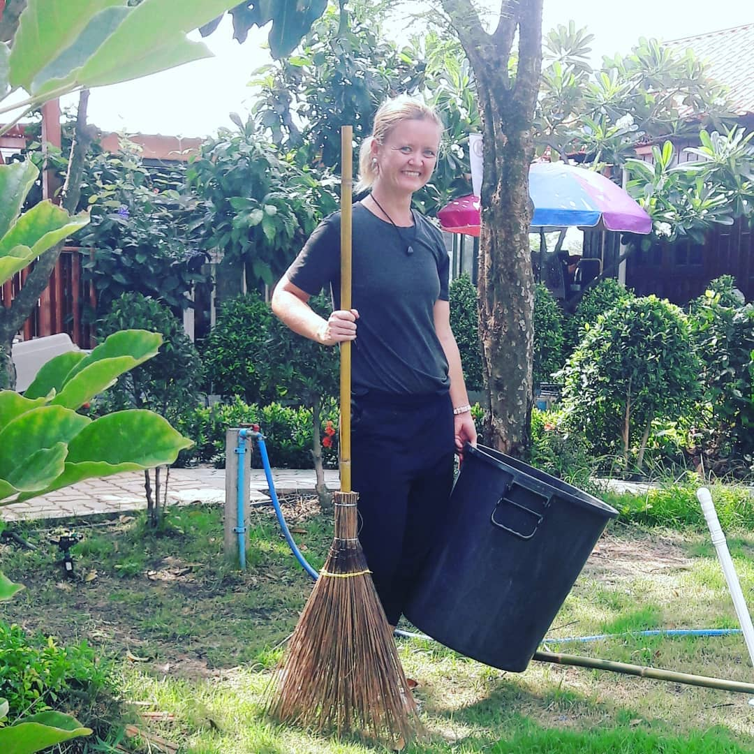 Ané getting ready for her daily chores wile volunteering in Thailand